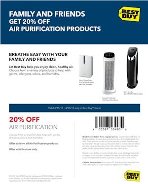 Print a Best Buy 20% off Air Purifiers until 4/15/13 - On sale