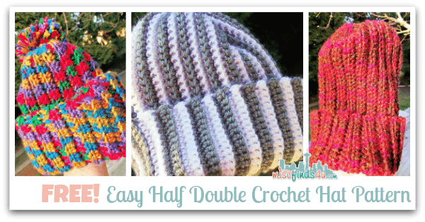 Free and Easy Half Double Crochet Hat Pattern - and link to Crochet How To Video