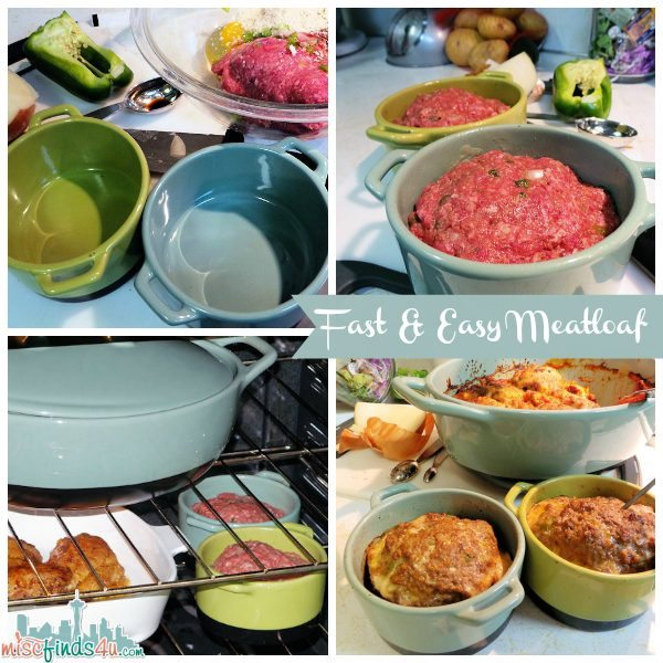 Fast and Easy Meatloaf Recipe in my new Bobby Flay Stoneware 4-pc. Ramekin Set.