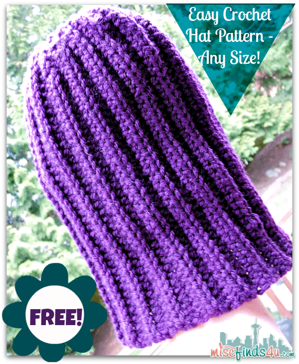 Free Crochet Hat Pattern - Slouch Hats, Any Size with video tutorial