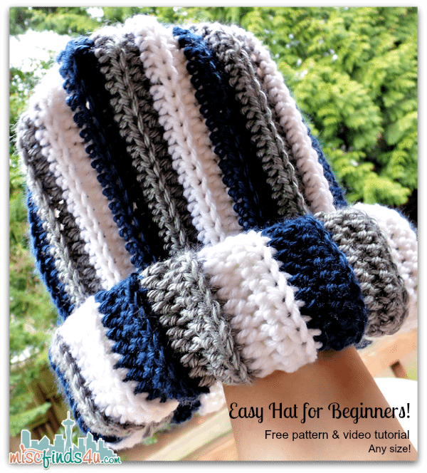 Free Striped Hat Pattern for Crochet - wear it rolled for extra ear warmth or slouchy for a stylish option