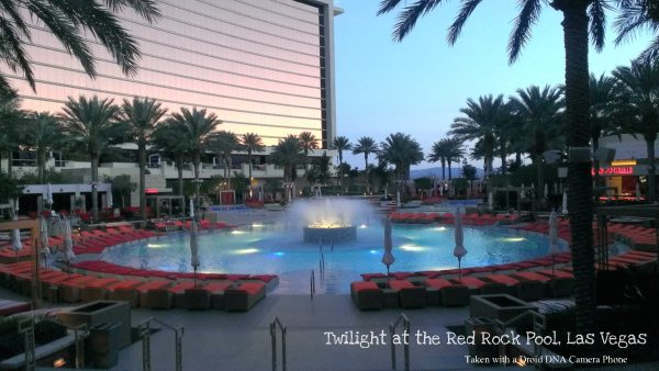 Twilight at the Red Rock Hotel, Las Vegas. Photo taken with a Droid DNA cellphone camera
