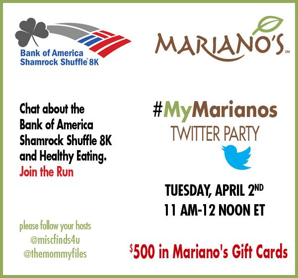 #MyMarianos Twitter Party for Mariano's Fresh Markets in Chicago .Join us to win Mariano's Gift Certificates!