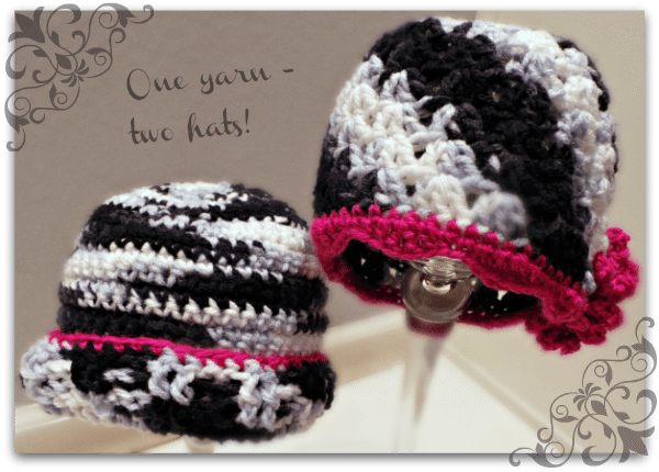 One Yarn - Two Hats Free Crochet Patterns