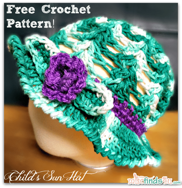 Crochet How To - Free Kids Sun Hat or Easter Bonnet Pattern - Red Heart Creme de la Creme Cotton Yarn Jade Tones