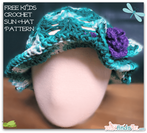 Red Heart Creme de la Creme Cotton Yarn Jade Tones - Crochet How To - Free Kids Sun Hat or Easter Bonnet Pattern
