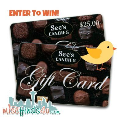 Win a $25 Gift Certificate from See's Candy at MiscFinds4u.com