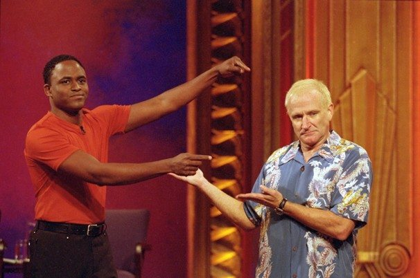 "Wayne Brady with guest star Robin Williams on the original ""Whose Line is it Anyway"" TV show (2000) - photo credit MITCH HADDAD - ABC"