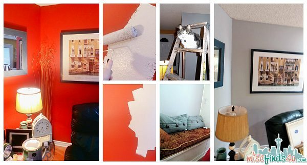 Out with the red and in with the gray. I had a little help from Sam. Now I'll need to replace the lampshades and art, but I'm looking forward to it!