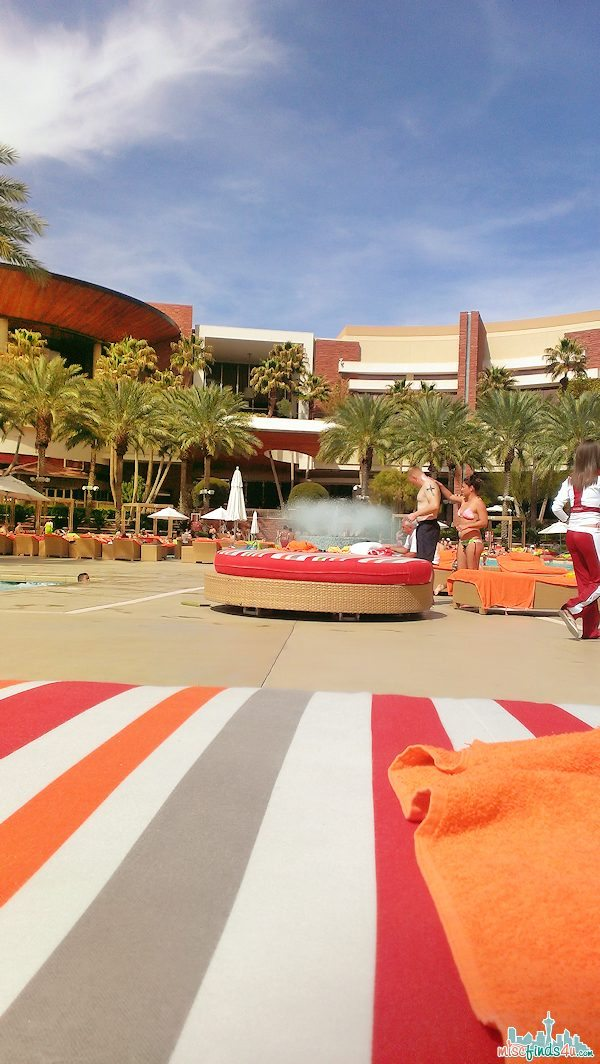 Tanning beds and water features at the Pool at Red Rock Casino, Las Vegas