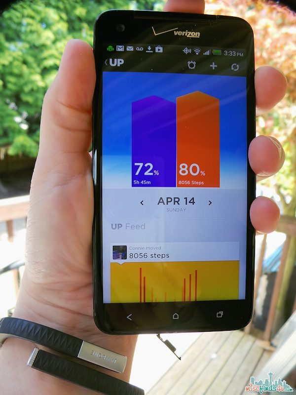 My Jawbone up and Droid Phone - a lifestyle tracker that tells me how many steps I've taken and how well and how long I slept.