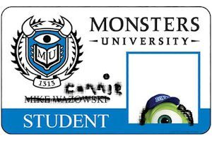 My Monsters University Student Card - looks legit, right?