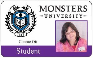 My Monsters University Student ID - yea, I was going for a monster pose :)
