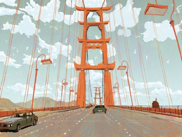 "BRIDGE TO SAN FRANSOKYO – Concept art showcases an iconic bridge and treasured landmark of the high-tech, fast-paced city of San Fransokyo, the setting for Walt Disney Animation Studios' action comedy adventure ""Big Hero 6""— in theaters on November 7, 2014."