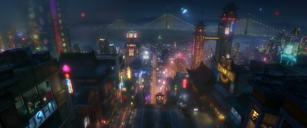 "SAN FRANSOKYO AT NIGHT – Pictured in concept art, the high-tech city of San Fransokyo is home to brilliant robotics prodigy Hiro Hamada and his team of first-time crime fighters in Walt Disney Animation Studios' action comedy adventure ""Big Hero 6""—in theaters in 3D on November 7, 2014."