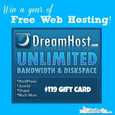 DreamHost Giveaway - win one year of free web hosting services