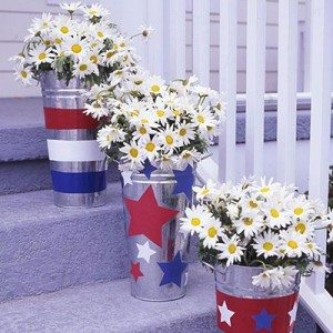 4th of July themed galvanized buckets