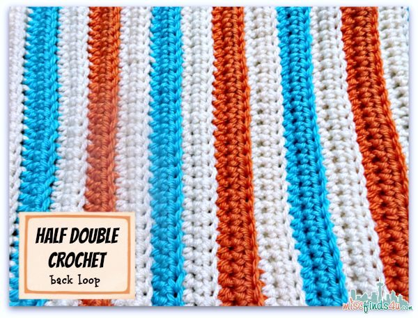 Orange Teal White Half Double Crochet