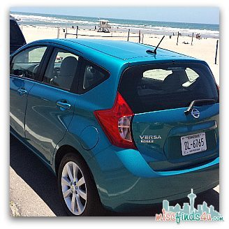 The Peacock Nissan Versa Note I drove and a gorgeous California Beach we stopped at.