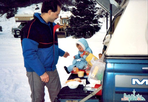 This photo was taken in 1988. My husband still drives this truck every day. We packed our lunch and went out to the woods for entertainment. Living simply helped us live better.