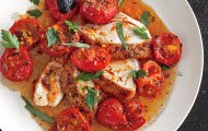 Chicken with Herb-Roasted Tomatoes and Pan Sauce recipe by Epicurious