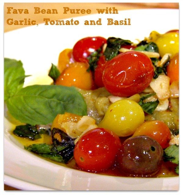 Fava Bean Puree with Garlic Tomato and Basil Recipe