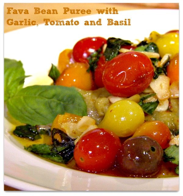 Fava Bean Puree with Garlic Tomato and Basil