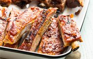 Pork Ribs with Smoky Bacon Barbecue Sauce recipe