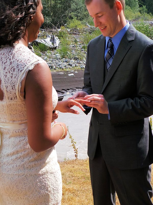 Exchanging vows and rings