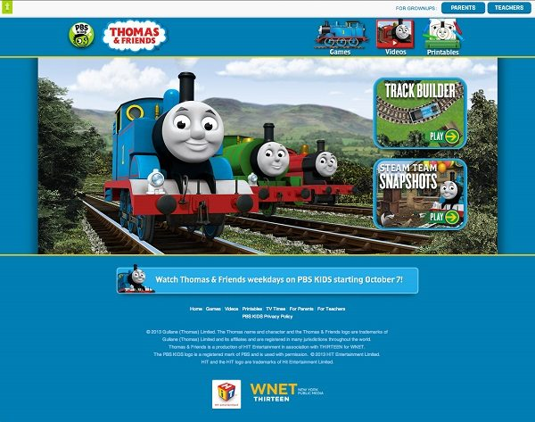 pbskids.org now offers a new Thomas & Friends site with online activities and downloadable content at pbskids.org/thomasandfriends. They've got fun games on there like Track Builder, Steam Team Snapshots where you can make a picture with your favorite engine, Tangled Rail Trails where you put together a Thomas & Friends story, and Track Repair.