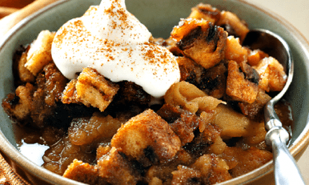 Apple Brown Betty with Almond Whipped Cream