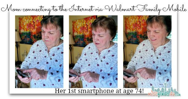 Connecting to the Internet on Walmart Family Mobile on her first Smartphone at age 74 - #FamilyMobileSaves, #cbias #shop
