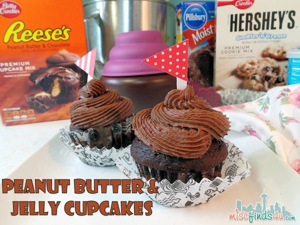 Peanut Butter and Jelly Cupcakes #MyBlogSpark ad