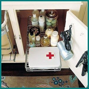Sliding Kitchen Drawers in the Bathroom by Martha Stewart