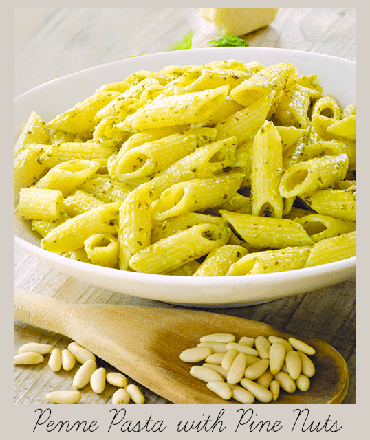 Penne Pasta with Pine Nuts Recipe
