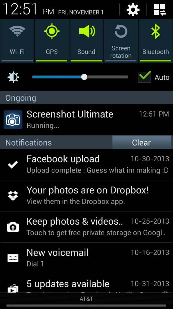AT&T Samsung Galaxy S4 Alert Screen