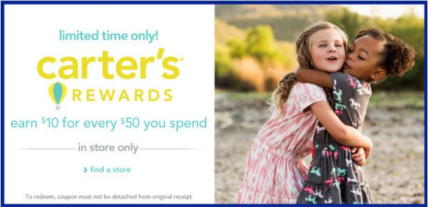 Carters Rewards - Earn 10 for every 50 you spend in stores - @carters #CartersFam #sponsored #MC