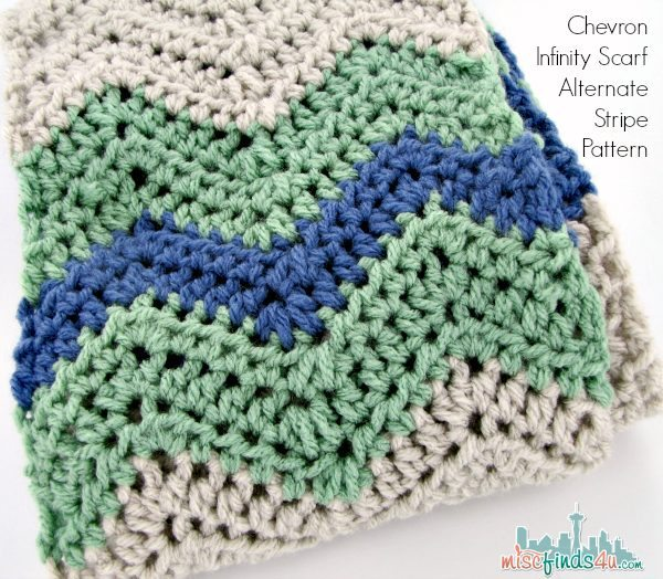 Free Crochet Pattern - Alternate Stripe Pattern Chevron Infinity Scarf