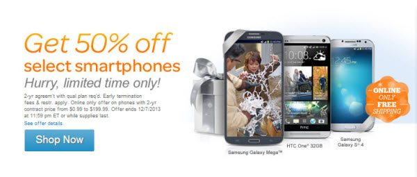 Get 50% off Select Smartphones at ATT