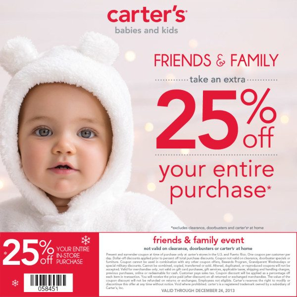 MCC Carter's Friends & Family Coupon  -  @carters #CartersFam #sponsored #MC