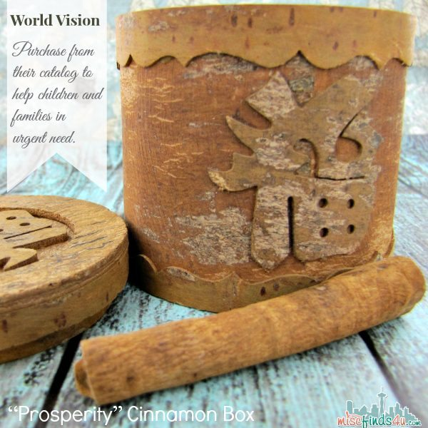 "World Vision Catalog - Gifts that Save - Prosperity"" Cinnamon Box  Ad"