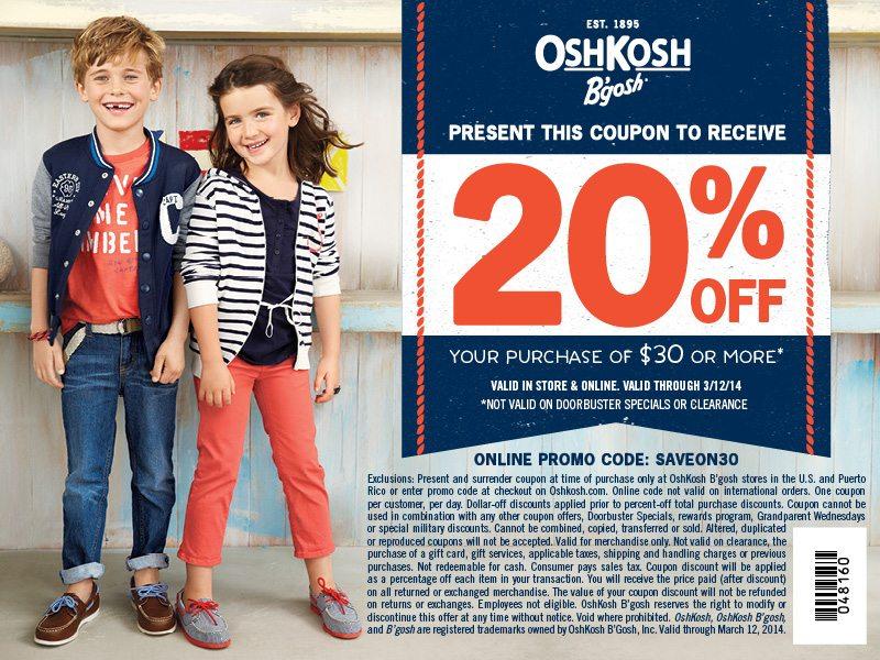 Oshkosh B'Gosh Discount Coupon - ad