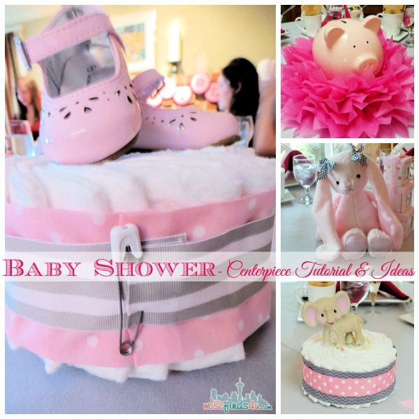 Baby shower ideas diaper cake centerpiece tutorial