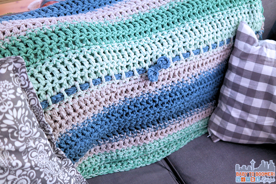 Chunky Easy Weekend Afghan Crochet Pattern Blue Green