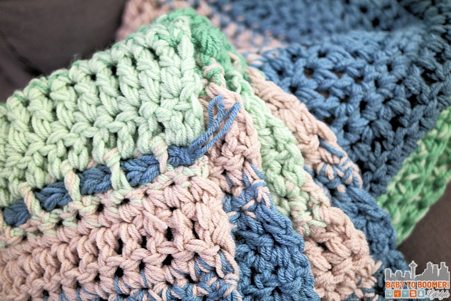 Chunky Weekend Afghan Crochet Pattern Blue Green
