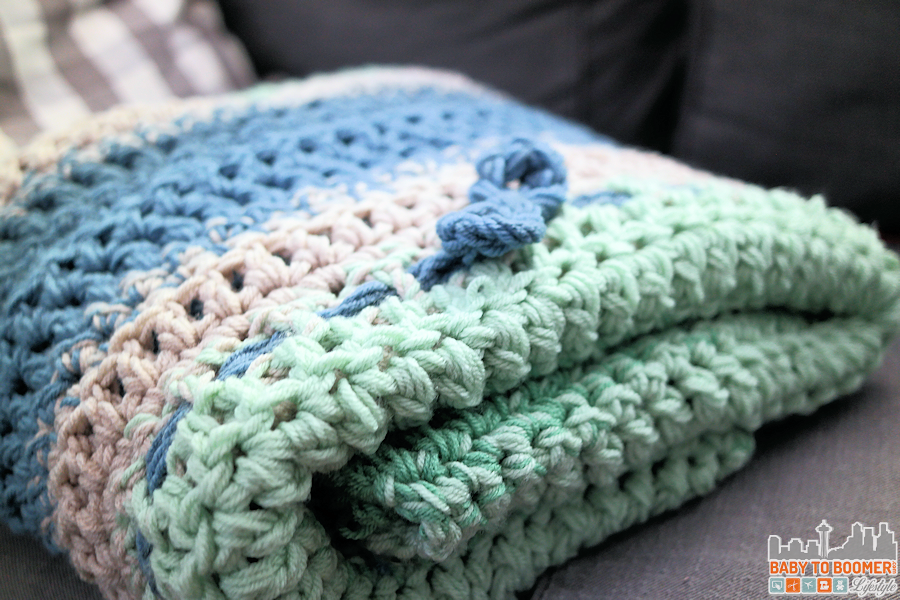 Chunky Weekend Afghan Crochet Pattern Gray Blue Green