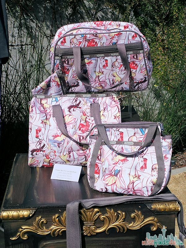 Tinker Bell for Le Sportsac  - prices range from $28.00-158.00. This new line of bags inspired by Tinker Bell features the Marc Davis and Neverland designs and are available in various shapes ans sizes. These bags will debut in April 2014.