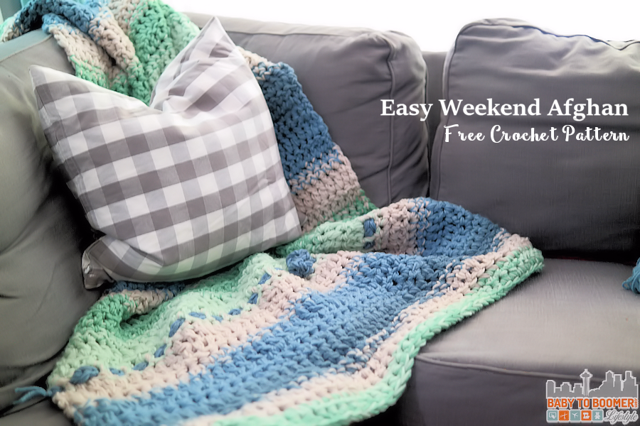 Easy Weekend Afghan Crochet Pattern Blue Green