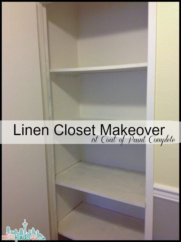 Linen Closet Makeover - First Coat of Paint