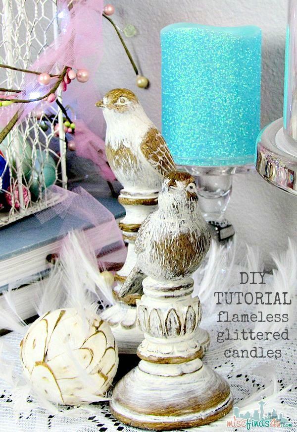 Create your own glittered candles from flameless - pretty, practical and safer!